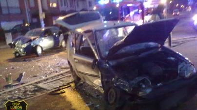 Wypadek na skrzyżowaniu ulic Buczka i Poznańskiej w Luboniu