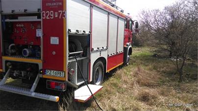 Pożar trawy przy ulicy Dożynkowej w Luboniu