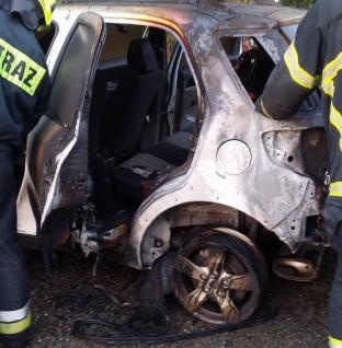 Pożar samochodu w Walerianowie