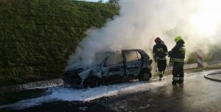 Pożar na autostradzie A2