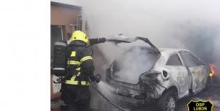 Pożar samochodu i garażu w Plewiskach