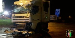 Wypadek z udziałem autobusu i samochodu ciężarowego