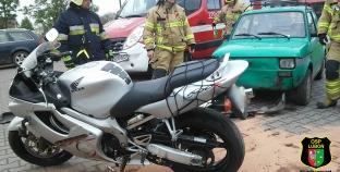 Kolizja z udziałem motocyklu i samochodu osobowego