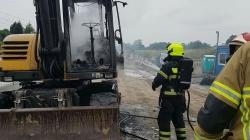 Pożar koparki na Armii Poznań