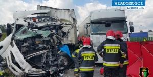 Wypadek na A2 z udziałem ciężarówek