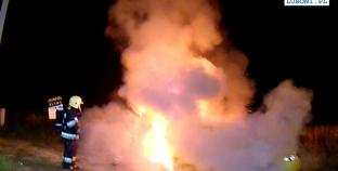 Pożar samochodu w Komornikach  [filmik]