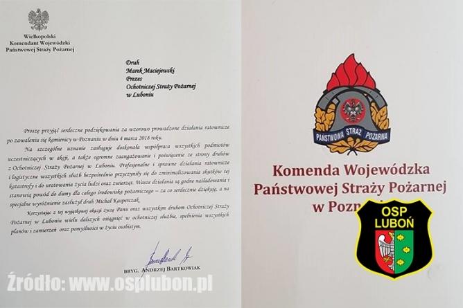 Podziękowania od Komendy Wojewódzkiej