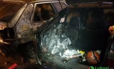 Nocny pożar dwóch samochodów