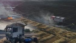 Pożar ciężarówki spowodował pożar kilku hektarów zboża