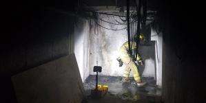 Pożar piwnicy w bloku
