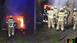 Nocny pożar samochodu w garażu