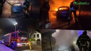 Nocny pożar samochodu na Polnej