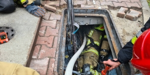 Pożar przewodów w studzience elektrycznej
